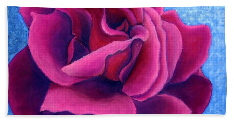 Rose. Pink Rose Beach Towel featuring the painting A Rose is a Rose.. by Minaz Jantz