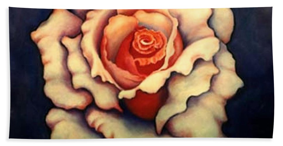 Flower Beach Towel featuring the painting A Rose by Jordana Sands