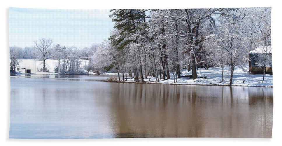 Winter Beach Towel featuring the photograph A Rural Lake by Timothy Markley