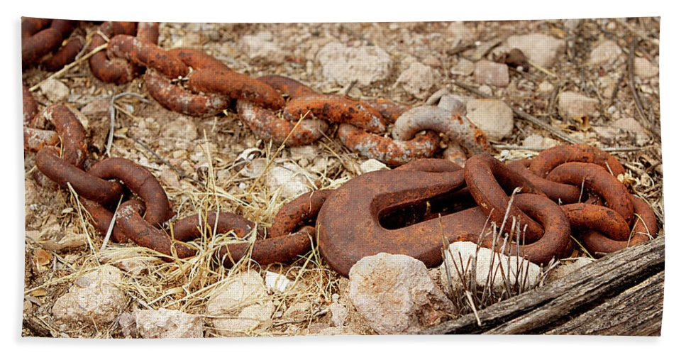 Chain Beach Towel featuring the photograph A Rusty Chain And Hook by Phyllis Denton