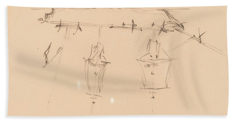 Beach Towel featuring the drawing A Sailing Ship [verso] by Edward Lear