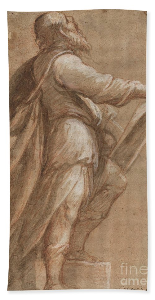 Beach Towel featuring the drawing A Saint Holding A Book by Attributed To Gioacchino Assereto
