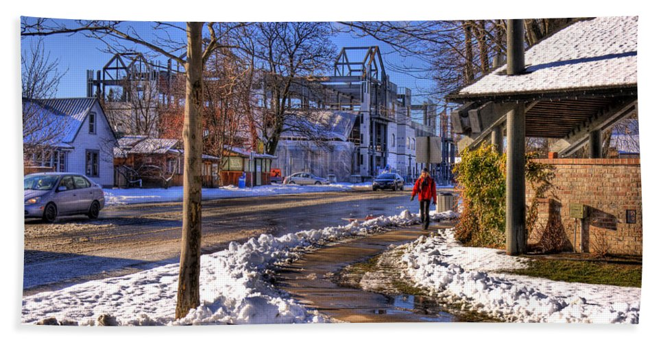 Scenic Beach Towel featuring the photograph A Sandpoint Winter by Lee Santa