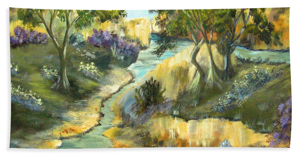 Landscape Beach Towel featuring the painting A Sandy Place To Rest by Ruth Palmer