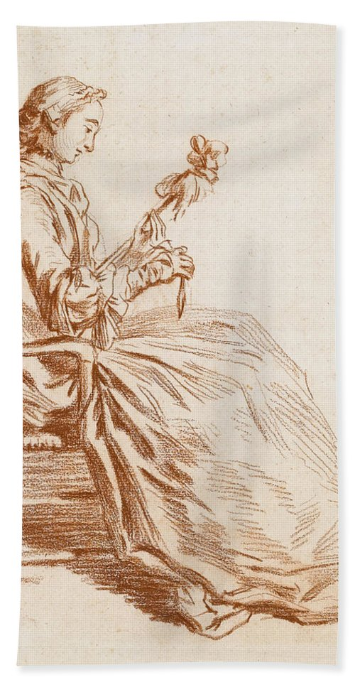 Pierre Parrocel Beach Towel featuring the drawing A Seated Woman by Pierre Parrocel