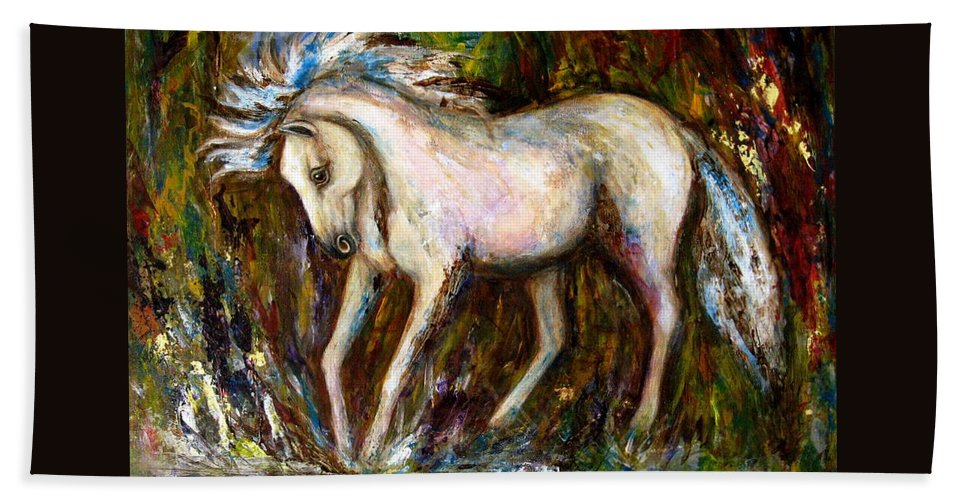 Horse Painting Beach Sheet featuring the painting A Secret Place White Hores Painting by Frances Gillotti