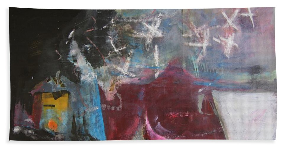 Abstract Paintings Beach Towel featuring the painting A Short Story by Seon-Jeong Kim