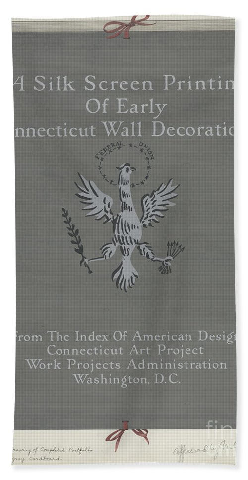 Beach Towel featuring the drawing A Silk Screen Printing Of Early Connecticut Wall Decorations, Portfolio Cover by Lawrence Flynn