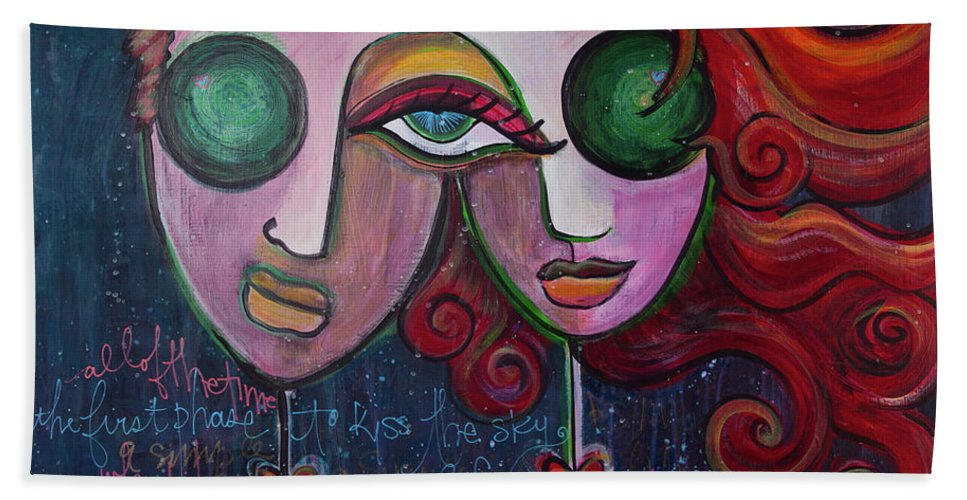 Muses Market Tour Beach Towel featuring the painting A Simple Life by Laurie Maves ART