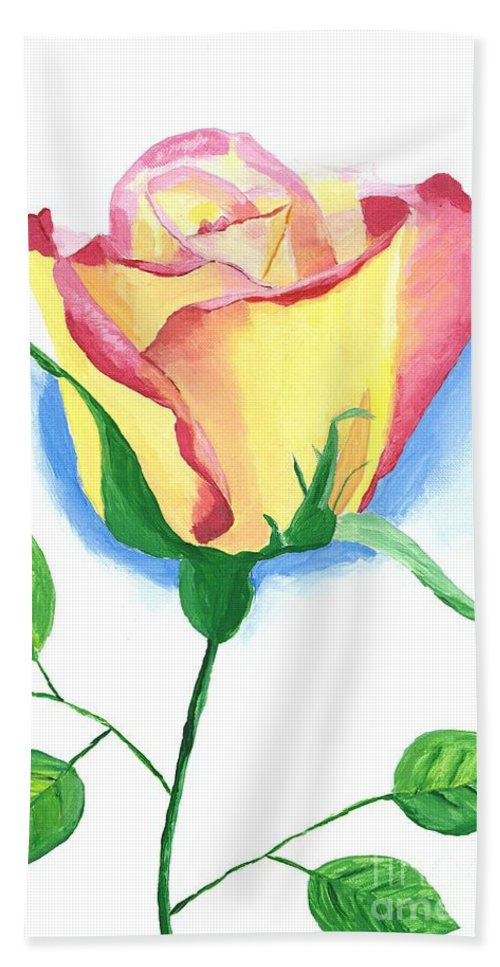 Rose Beach Towel featuring the painting A Single Rose by Rodney Campbell