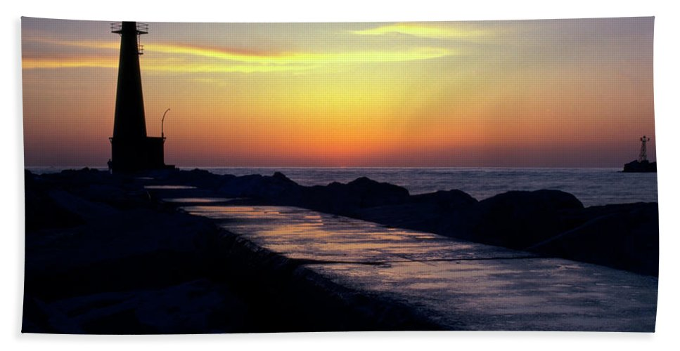 Color Beach Towel featuring the photograph A Sliver Of Sunset by Frederic A Reinecke