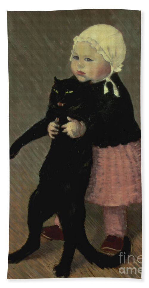 Pet Beach Towel featuring the painting A Small Girl With A Cat by TA Steinlen