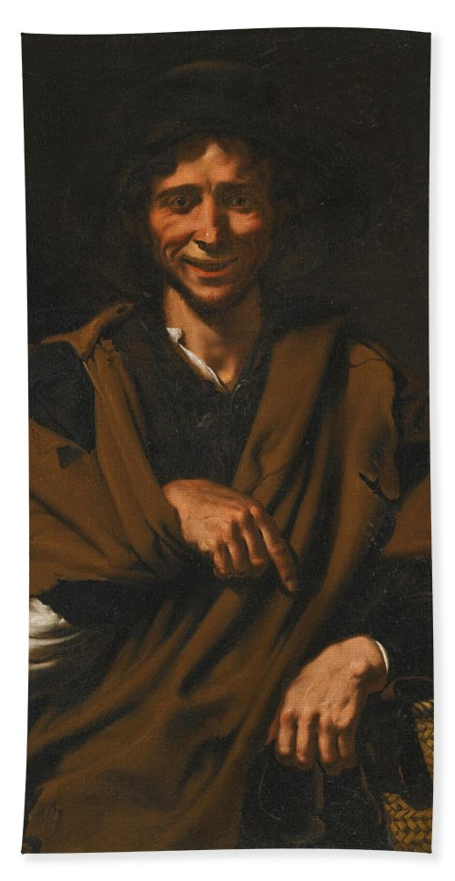 Master Of The Gamblers Beach Towel featuring the painting A Smiling Beggar by Master of the Gamblers