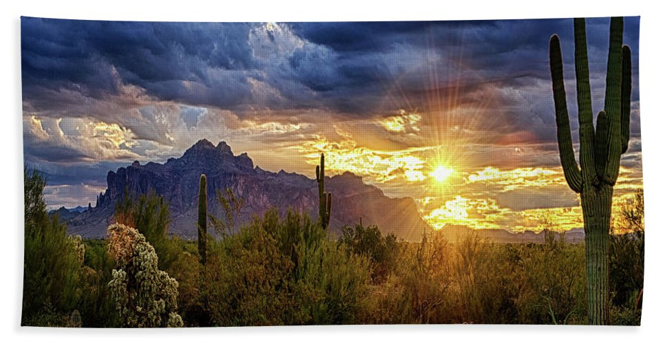 Sunrise Beach Towel featuring the photograph A Sonoran Desert Sunrise - Square by Saija Lehtonen