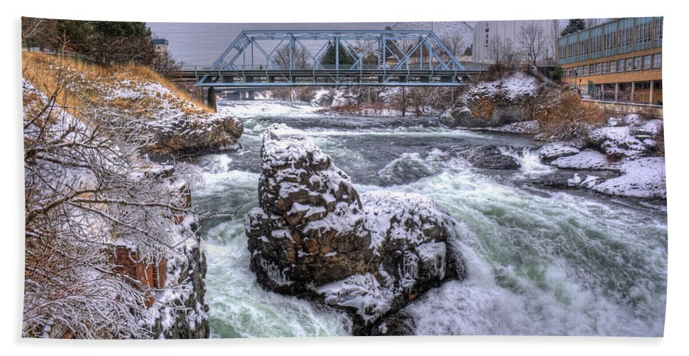 Spokane Beach Towel featuring the photograph A Spokane Falls Winter by Lee Santa