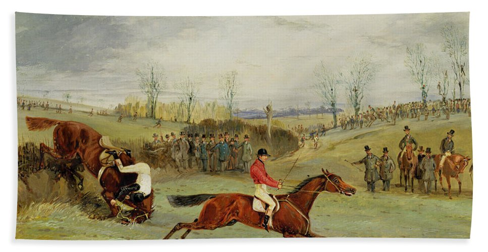 Steeplechase Beach Towel featuring the painting A Steeplechase - Another Hedge by Henry Thomas Alken