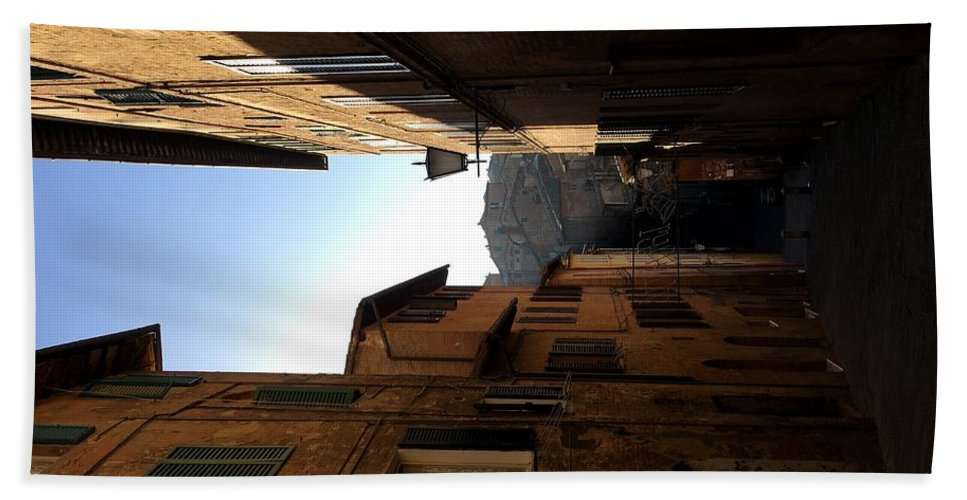 Siena Beach Towel featuring the pyrography A Street In Siena by Victoria Garabato Roggio