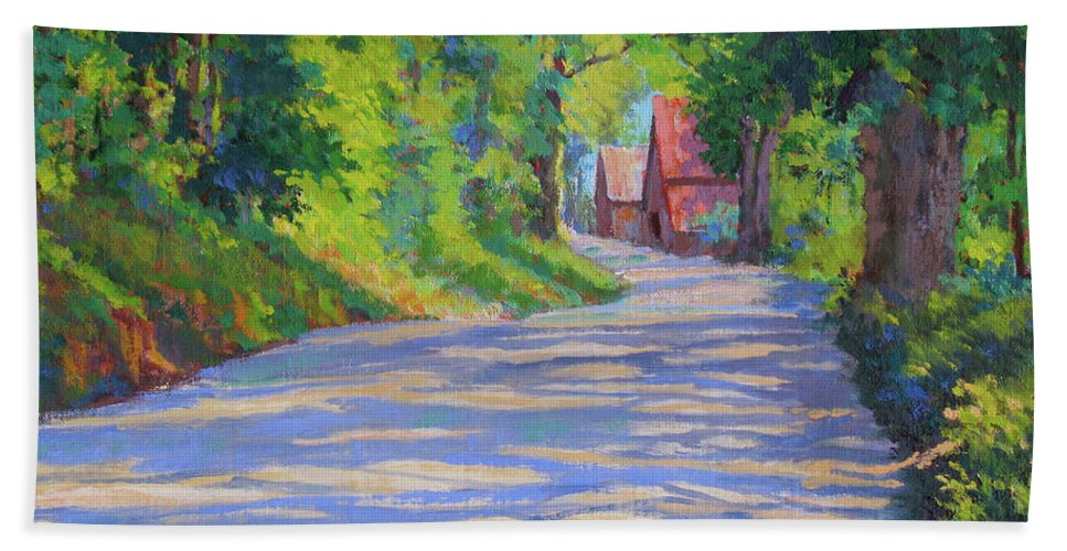 Landscape Beach Towel featuring the painting A Summer Road by Keith Burgess