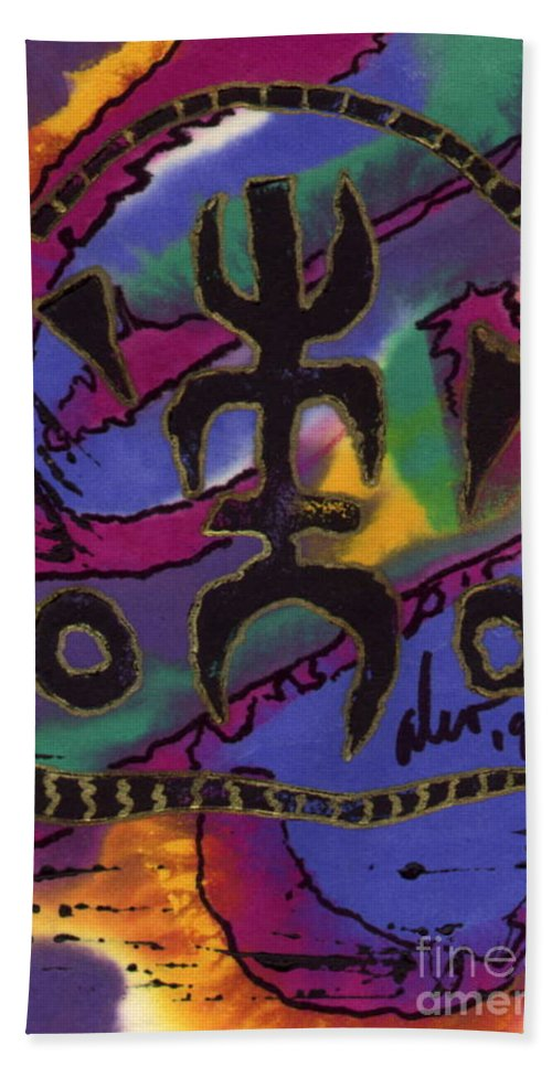 Abstract Beach Towel featuring the mixed media A Symbol Of Life by Angela L Walker