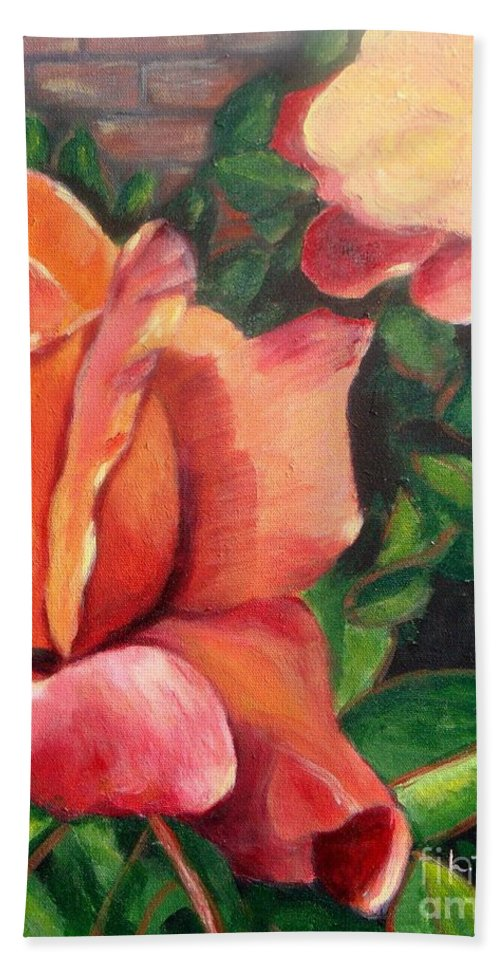 Rose Beach Sheet featuring the painting A Tale Of Two Roses by Laurie Morgan