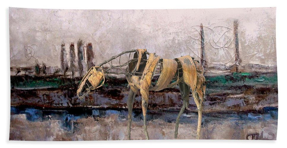 Landscape Beach Towel featuring the mixed media A Thirsty Horse 1 by Pemaro