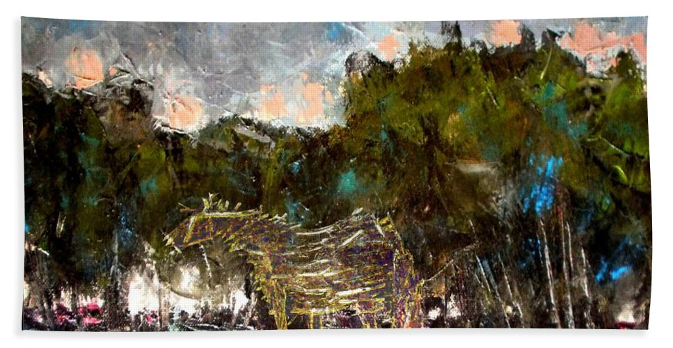 Landscape Beach Towel featuring the mixed media A Thirsty Horse by Pemaro