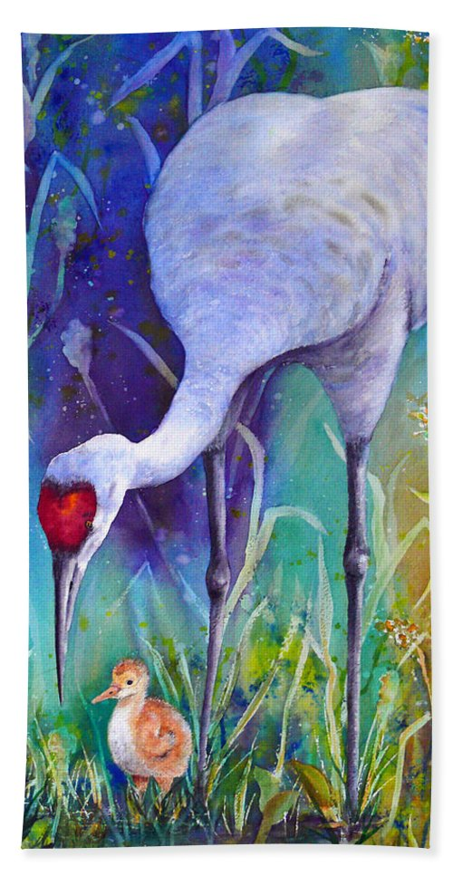 Crane Beach Towel featuring the painting A Time To Nurture by Dee Carpenter