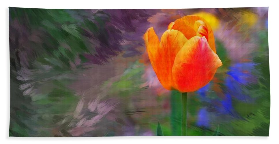 Floral Beach Towel featuring the digital art A Tulip Stands Alone by David Lane