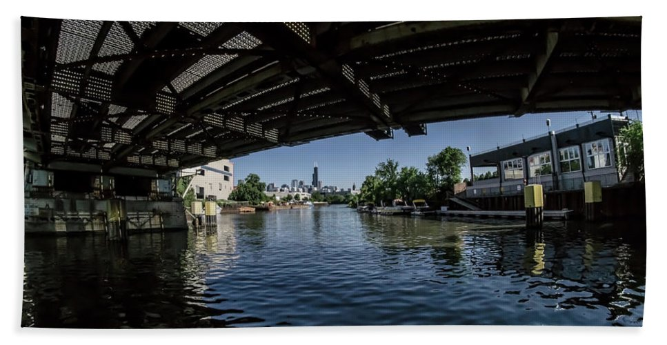 Chicago River Beach Towel featuring the photograph A View Of Chicago From Under The Division Street Bridge by Sven Brogren