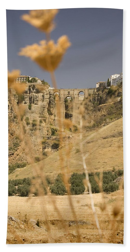 Tajo Beach Towel featuring the photograph A View Of The Tajo De Ronda And Puente Nuevo Bridge Serrania De Ronda Andalucia Spain by Mal Bray