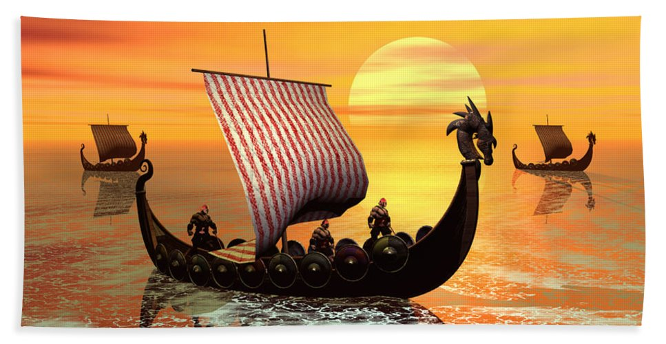 The Vikings Are Coming Beach Sheet featuring the digital art The Vikings Are Coming by John Junek