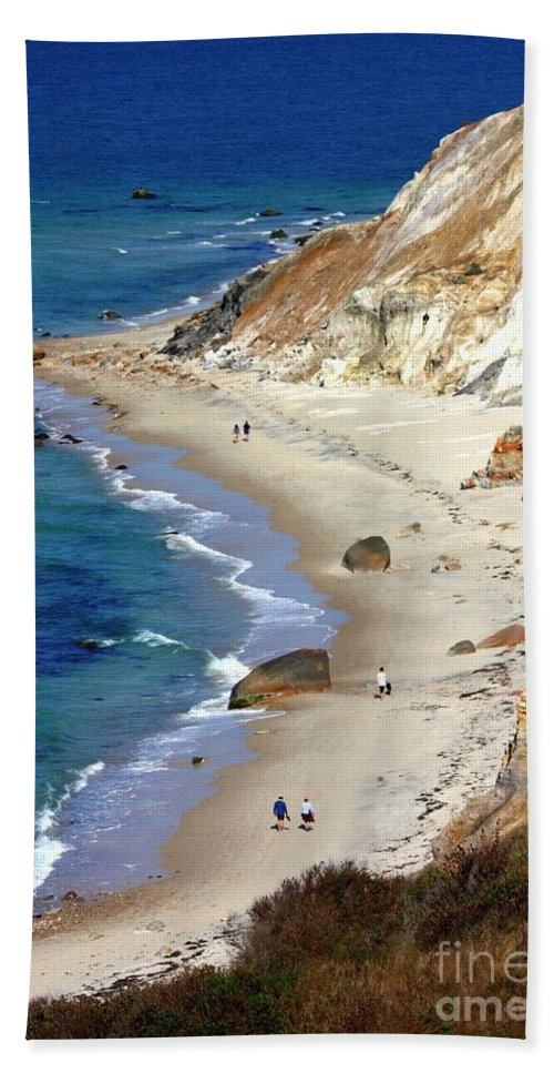 Massachusetts Beach Towel featuring the photograph A Walk Along Aquinnah Beach by Carol Groenen