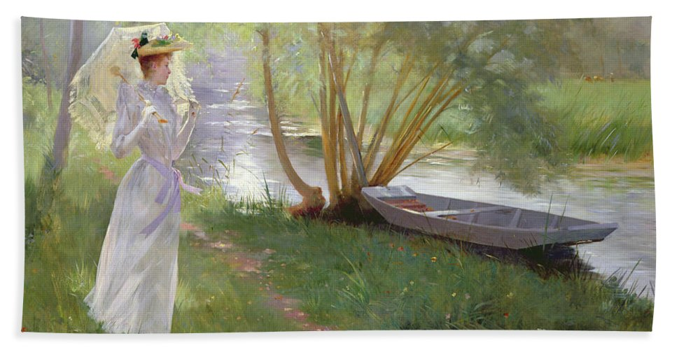 A Walk By The River Beach Towel featuring the painting A Walk By The River by Pierre Andre Brouillet