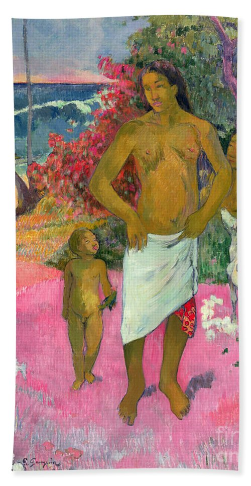 Paul Gauguin Beach Towel featuring the painting A Walk By The Sea by Paul Gauguin
