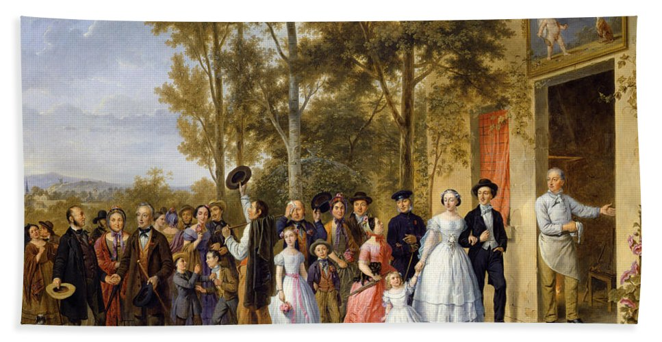 Love Beach Towel featuring the painting A Wedding At The Coeur Volant by French School