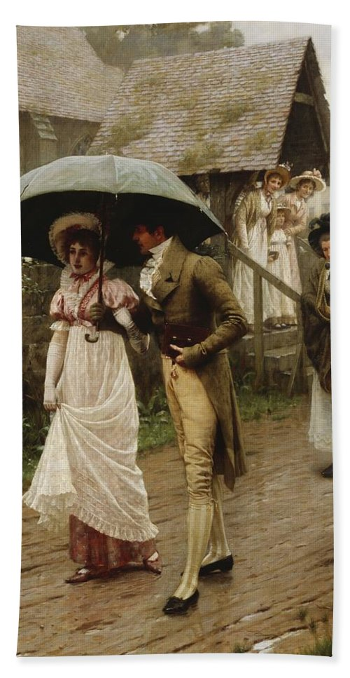 A Wet Sunday Morning Beach Towel featuring the painting A Wet Sunday Morning by Edmund Blair Leighton