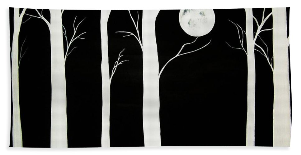 Contrast Beach Towel featuring the painting A Winters Night by Katie Slaby