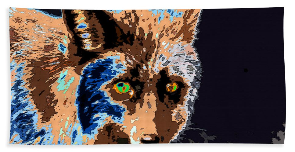 Art Beach Towel featuring the painting A Wolf Staring by David Lee Thompson