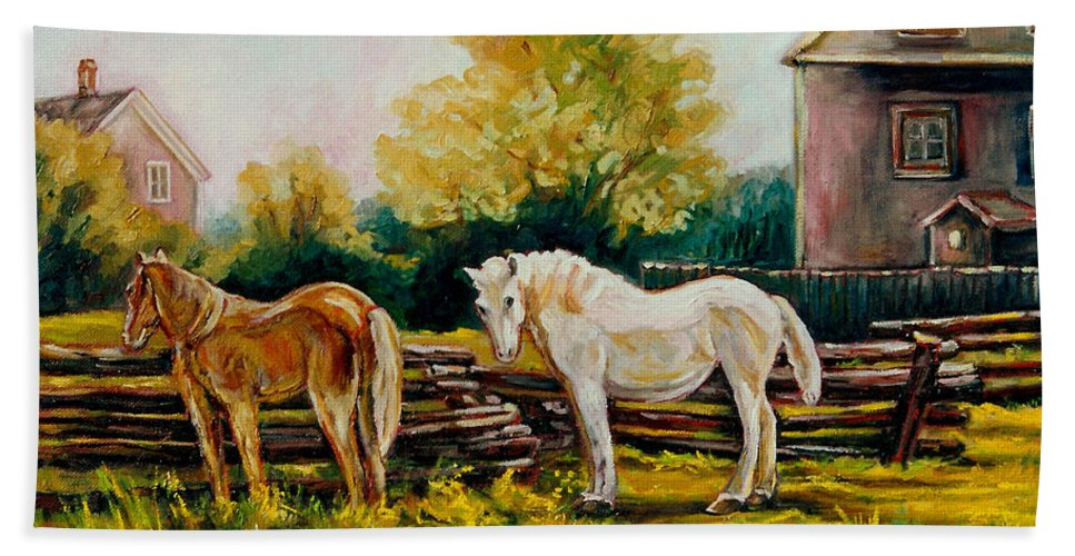 Horses Beach Sheet featuring the painting A Wonderful Life by Carole Spandau
