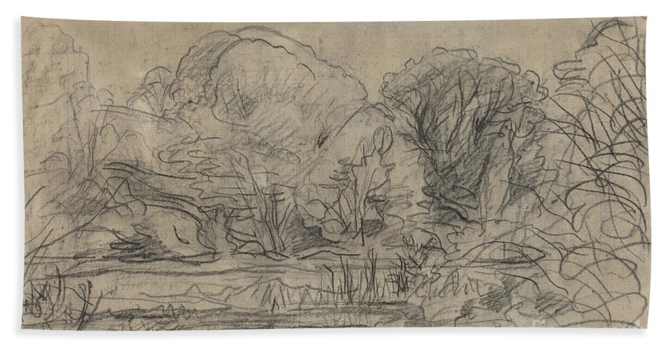 Beach Towel featuring the drawing A Woodland Pond by Charles-fran?ois Daubigny