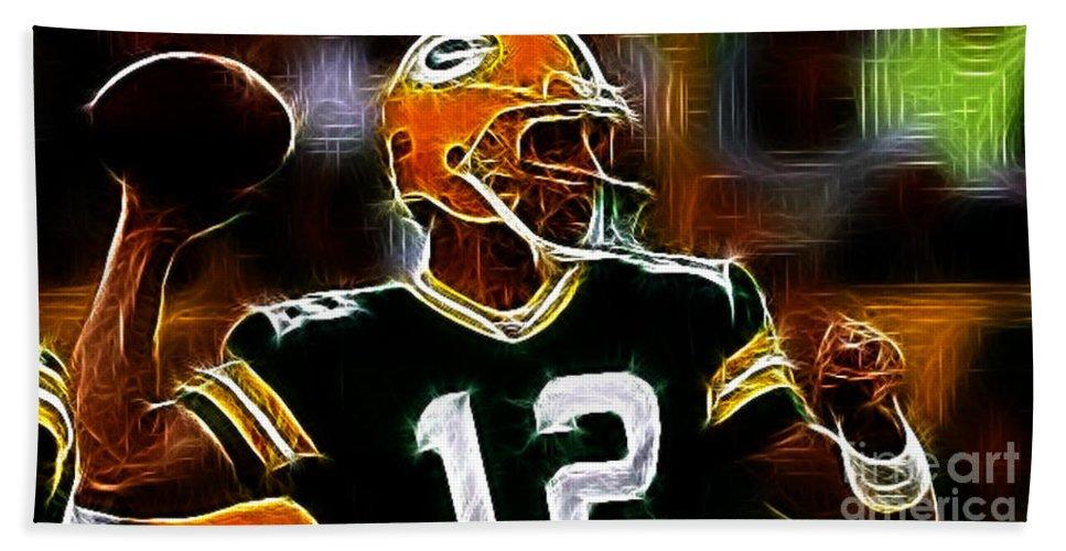 Aaron Rodgers - Green Bay Packers Beach Towel featuring the photograph Aaron Rodgers - Green Bay Packers by Paul Ward