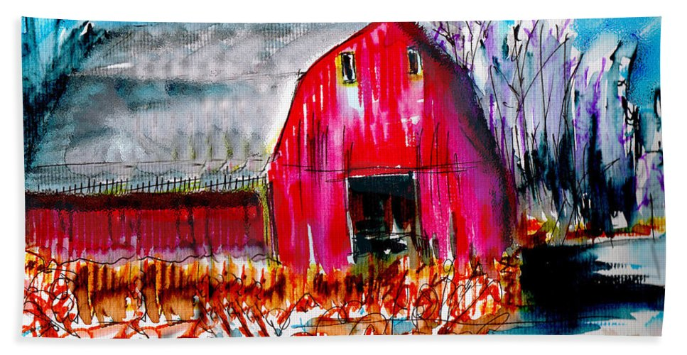 Abandoned Beach Towel featuring the painting Abandoned Barn by Seth Weaver