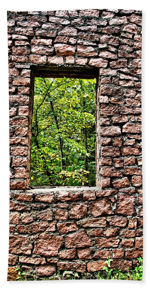 Abandoned Beach Towel featuring the photograph Abandoned Stone Wall With Window by Larry Jost
