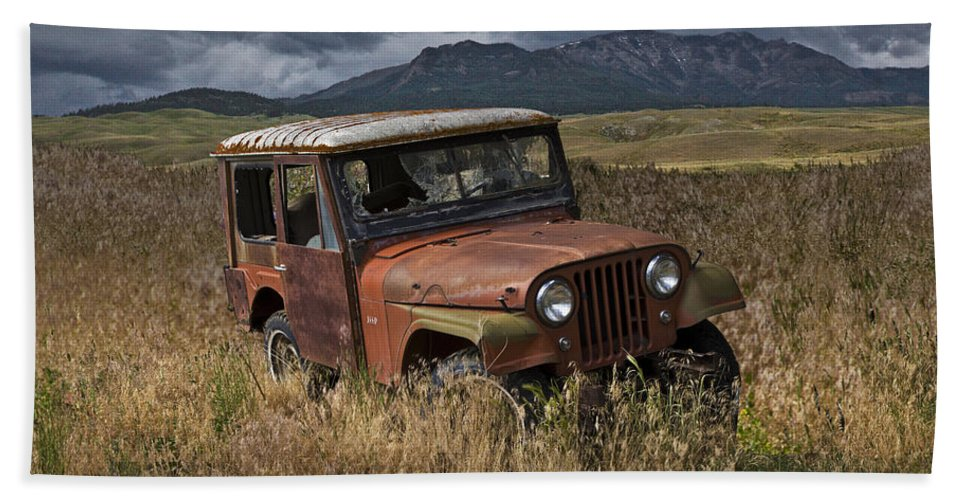 Vintage Beach Towel Featuring The Photograph Abandoned Willy Jeep By Randall Nyhof