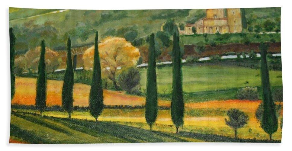 Landscape Beach Towel featuring the painting Abbey Tascany by Antonina Dunaeva