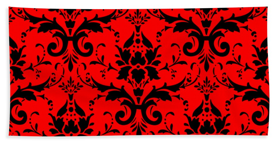 Damask Beach Towel featuring the digital art Abby Damask In Black Pattern 02-p0113 by Custom Home Fashions