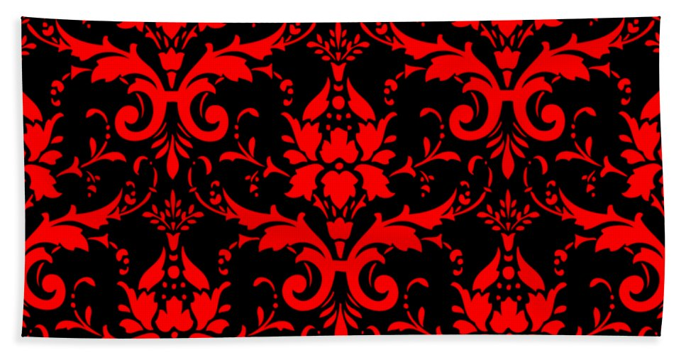 Damask Beach Towel featuring the digital art Abby Damask With A Black Background 02-p0113 by Custom Home Fashions