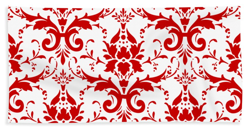 Damask Beach Towel featuring the digital art Abby Damask With A White Background 02-p0113 by Custom Home Fashions