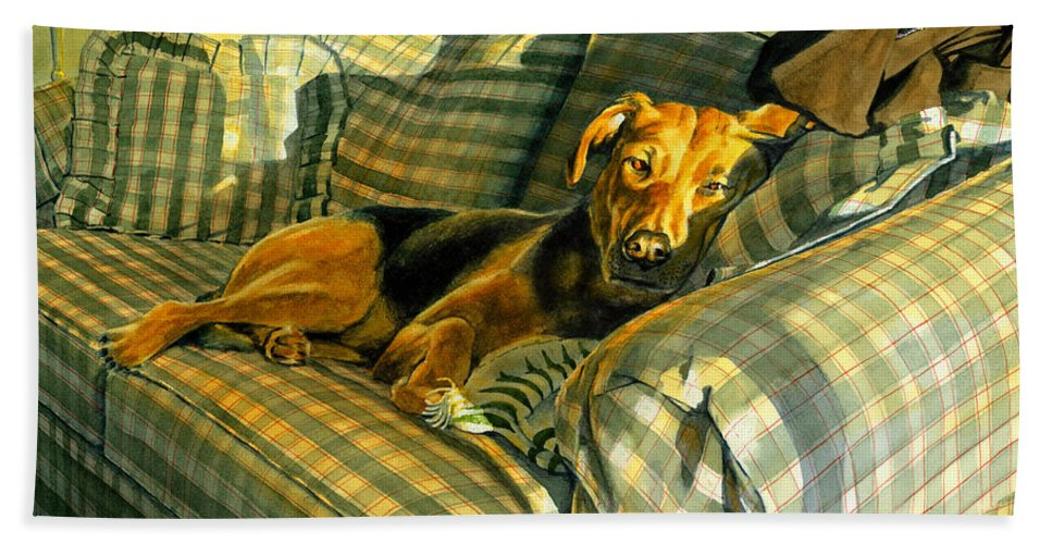 Dog Beach Towel featuring the painting Abby by Tom Hedderich
