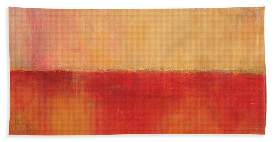 Red Beach Towel featuring the painting Ablaze by Kate Marion Lapierre